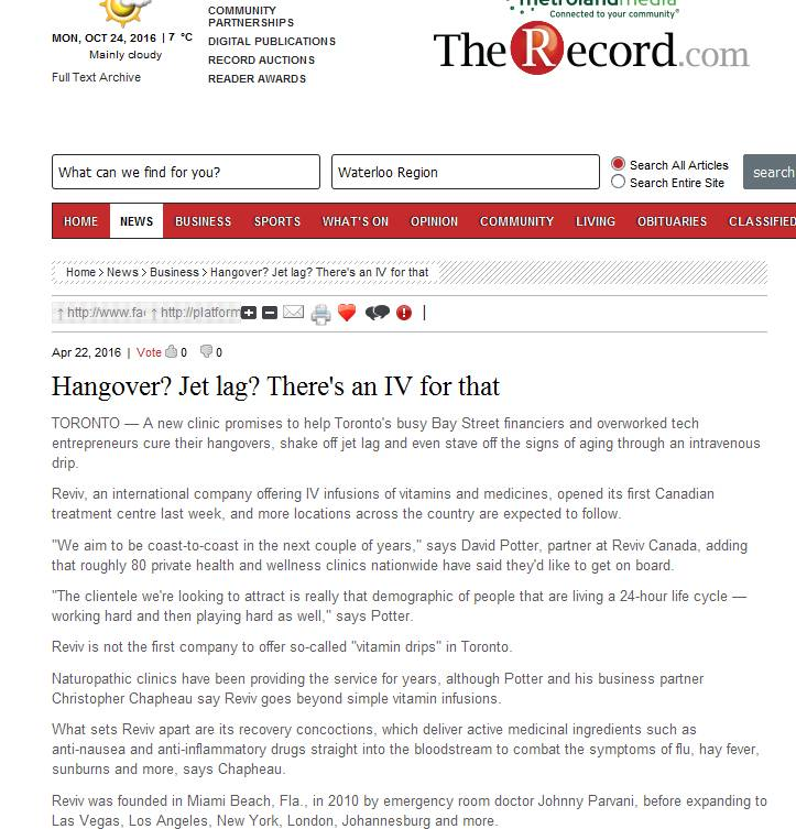 Hangover? Jet lag? There's an IV for that  - therecord.com